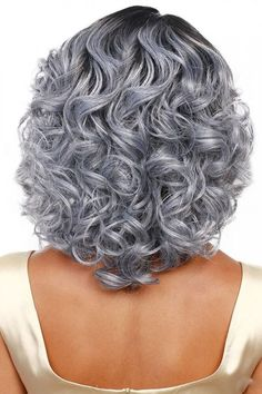Women Gray Ombre Heat Resistant Wavy Costume Wig - One Size Save it if you like this One :) ! Grey Ombre Hair, Grey Curly Hair, Grey Wig, Silver Grey Hair, Curly Hair Cuts, Short Curly Hair, Curly Hair Styles, Long Gray Hair, White Hair