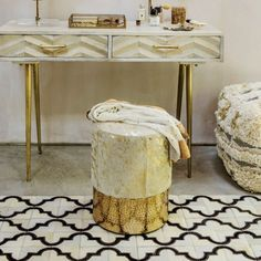 Add some glamour and glitz to your dressing table area with our luxurious gold cowhide vanity stool. Balcony Table And Chairs, Dining Room Table Chairs, Wayfair Living Room Chairs, Shabby Chic Table And Chairs, Mid Century Dining Chairs, Accent Chairs For Living Room, Living Room Decor, High Chairs, Composite Adirondack Chairs
