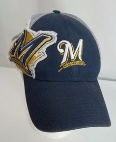 93d9669bc3e Milwaukee Brewers Cap Hat Logo Mesh Back Snap Back Rounded Bill  NewEra  MilwaukeeBrewers  Brewer
