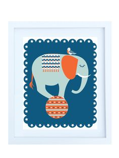 Circus Elephant Illustration, 8x10 Print in Navy, Orange, Duck Egg & White. via Etsy.