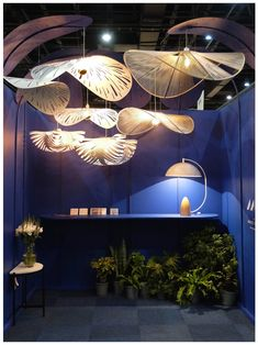 Showcase of MOS products at 2019 Design Johannesburg featuring Rooms on View. Featured products are: CLOUD lamps, RAIN FOREST cluster, FRENCH HAT statement lighting and the MOON LAMP table lamp. French Hat, Cloud Lamp, Mo Design, Showcase Design, Light And Shadow, Canopy, Rain, Chandelier, Table Lamp