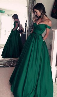 df829e9aee9 off shoulder green simple elegant long prom dress
