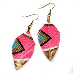 Neon Aztec    Electric Pink  3 inch  Faux Leather by lovesexton, $24.80