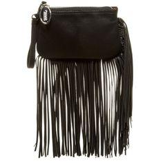 Carlos Santana Fringe Wristlet ($20) ❤ liked on Polyvore featuring bags, handbags, clutches, black, black handbags, black fringe handbag, wristlet clutches, black fringe purse and wristlet purse