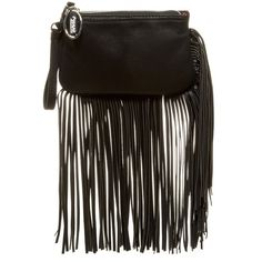 Carlos Santana Fringe Wristlet ($20) ❤ liked on Polyvore featuring bags, handbags, clutches, black, black handbags, black fringe handbag, wristlet clutches, black fringe purse and wristlet purse