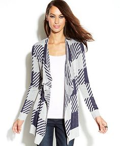 INC International Concepts Open-Front Draped Printed Cardigan