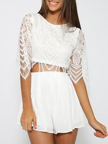 White Half Sleeve With Lace Playsuit -SheIn(Sheinside)-love the sleeves