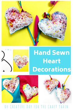 Sewing For Kids Easy Hand sewn heart decoration - up-cycle melted crayon fabric art into beautiful hand-sewn heart decorations. This is a fun kids sewing project which is great for building fine motor skills Valentine's Day Crafts For Kids, Sewing Projects For Kids, Arts And Crafts Projects, Sewing For Kids, Decor Crafts, Fun Crafts, Art For Kids, Simple Crafts, Kid Art