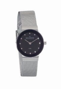 Skagen Silver Tone Steel Mesh Watch Skagen. $90.00. 26mm diameter steel case. Silver metal plating and Mesh band. Black dial and Mineral crystal. 5.75mm case thickness. water resistant at 100 feet. Swarovski indicators and Japanese movement