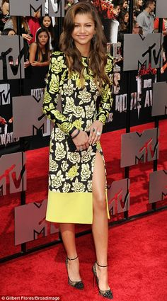 Shaking up the red carpet: Co-stars Zendaya (L) and Bella Thorne dressed their age in pretty and playful frocks