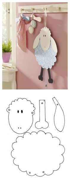 Crafts for Easter: sweet templates to imitate - Seasonal: Easter Decoration - Children& handicraft fun: Sweet sheep for Easter – start spring with a handicraft template - Kids Crafts, Sheep Crafts, Bible Crafts, Preschool Crafts, Easter Crafts, Diy And Crafts, Thanksgiving Crafts, Diy Spring, Spring Crafts