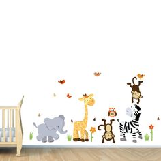 Jungle Wall Decals Monkey Decal Elephant by NurseryDecalsNMore, $49.99