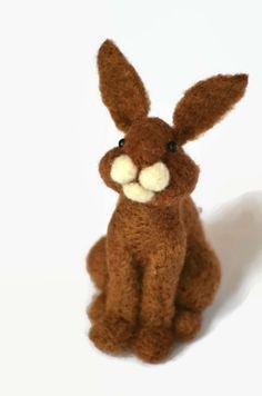 Needle Felted Bunny Rabbit  wool needle felted by BearCreekDesign, $60.00