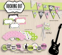 ROCK GUITAR Birthday Party Printable Package in Pink. $25.00, via Etsy.