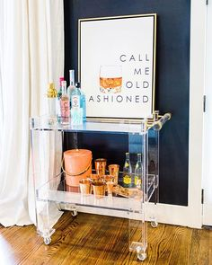 Brass & Lucite Bar Cart by Katie Kime Home Home Bar Decor, Bar Cart Decor, Bar Cart Styling, Diy Bar Cart, Diy Home Bar, Apartment Bar, Apartment Living, Cute Apartment Decor, Girls Apartment