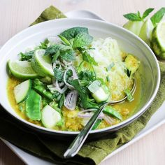 Homemade Thai curry paste gives this noodle soup fresh and authentic flavour you can't achieve with store-bought spice blends. Vegan gf