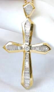 "3.0 ctw Baguette Diamond Cross with Round Center in 18k yellow gold (2 1/2"" tall). From MyJewelrySource."