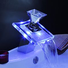 Bathroom Sink Faucets with Color Changing LED Waterfall Bathroom Sink Faucets (Glass Handle) 2016 - $54.74