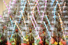 mason jars with pimms, at the granary barns wedding