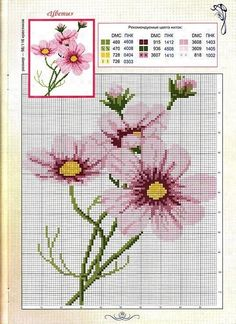 Cross-stitch Cosmos Flowers - idea for mosaic Cross Stitch Cards, Simple Cross Stitch, Cross Stitch Flowers, Cross Stitching, Cross Stitch Embroidery, Cross Stitch Designs, Cross Stitch Patterns, Cross Stitch Landscape, Couture