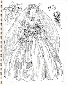 Miss Missy Paper Dolls: Charles Ventura brides Colouring Pages, Adult Coloring Pages, Coloring Books, Paper Toys, Paper Crafts, Novi Stars, Missing Missy, Victorian Bride, Art Origami