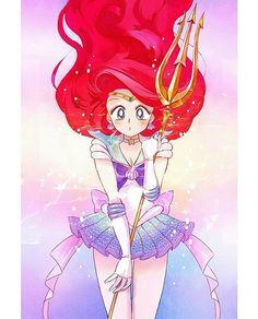 Sailor Moon x Disney Princess crossover fanart Art by Shira (via Pixiv) #SailorMoon #TheLittleMermaid #Disney
