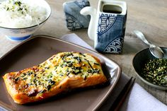 Baked Wasabi Mayo Salmon with Teriyaki Glaze & Furikake  UPDATE:  This was just okay, however my wasabi powder was a little old and the flavor was lacking.  Try again with wasabi paste.
