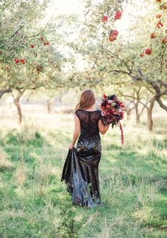 "All Hallow's Eve Wedding Inspiration | The colors and details in this photo shoot are great for a ""grown-up"" Halloween wedding - they're boundary pushing (for a wedding anyway) but still very elegant.  Also, black sequined wedding gown!!"