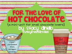 This is a small winter mini unit centering around hot chocolate. Included in the pack:  1) graphing page (Marshmallow or no marshmallows?). Students will use class data to create a tally chart, a graph, as well as questions for understanding.  2) Number chart 1-120  3) Cards for making student pairs/cooperative groups  4) Page of pictures/vocabulary terms to help aid student writing  5) How to make hot chocolate... writing activity... 2 sheets of lined paper  6) Hot chocolate adjective…