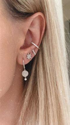 Dripping in Diamonds All decked out in our diamond & white gold earrings. Girls Earrings, Women's Earrings, Diamond Earrings, Evil Eye Earrings, Diamonds Tattoo, Pretty Ear Piercings, Face Piercings, Piercings For Girls, Imitation Jewelry