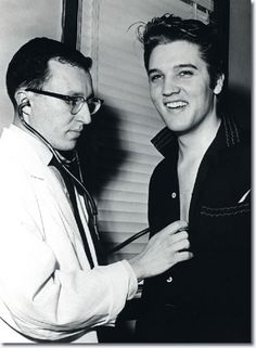 Elvis Presley at Kennedy Veterans Hospital on Getwell January 4, 1957.    Elvis reported to the hospital that afternoon for his army pre-induction physical just days before his 22nd birthday on January 8th. Elvis left for New York by train later that evening for his third and final appearance on Ed Sullivan's 'Toast of the Town Show' which broadcast January 6.