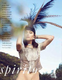 """""""Native Spirit"""" Tasha Tilbert by Dusan Reljin for ELLE Italia April 2015"""