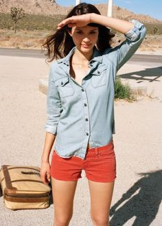 View the AG Jeans spring / summer 2012 look book. Summer Outfits, Casual Outfits, Fashion Outfits, Casual Clothes, Summer Shorts, Denim Fashion, Women's Fashion, Red Shorts Womens, Ag Jeans