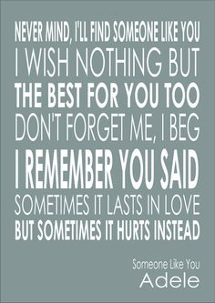Someone Like You - Adele - Lyric Quote - Print Poster A4
