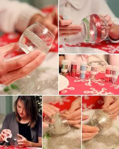 Double-sided tape and glitter- what a great combination to make pretty votive holders. We will use safe electric tea lights for the seniors at the assisted living home.  They will love making and using this!