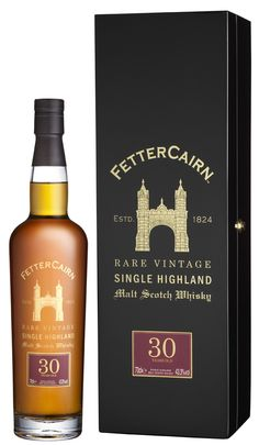 Fettercairn 30 year old Single Highland Malt  Scotch Whisky.  This whisky has a strong Oloroso sherry influence, and the official tasting notes describe a plethora of fruity flavours, including pineap (Fruity Liquor Bottle)