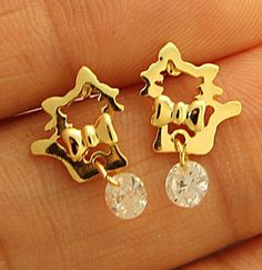 1 Pair Of Cutie Mini Cat Gold Plated Stud Earrings For Kids & Adults