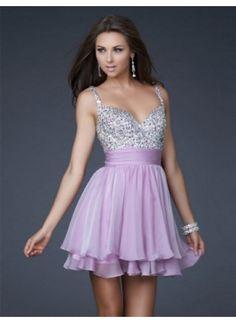 A-Line/Princess V-neck Short/Mini Chiffon Charmeuse Homecoming Dresses With Ruffle Beading