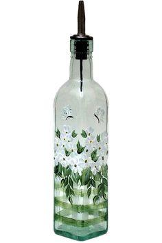 Hand geschilderd glazen fles olijfolie Dispenser witte bloemen vlinders handgeschilderde glaswerk olie azijn zeep Dispensers flessen geschilderd