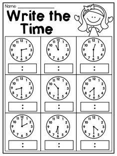 Grade Time Worksheets - Math Worksheet for Kids Math Addition Worksheets, First Grade Math Worksheets, Clock Worksheets, English Worksheets For Kids, Kindergarten Math Worksheets, 1st Grade Math, Free Math Worksheets, Grade Spelling, Reading Worksheets