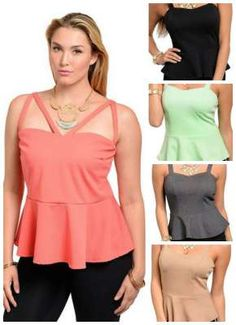 Womens Plus Size Sleeveless Peplum Tops On Sale