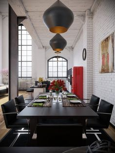 Black Dining Room Decor -Great amount of space, And use -The Saint Loft Industrial, Industrial Interior Design, Industrial Interiors, Home Interior Design, Interior Modern, Industrial Lighting, Kitchen Industrial, Industrial Bedroom, Diy Interior