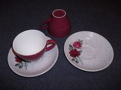 2 Crown Lynn princess rose cup/saucers for sale on Trade Me, New Zealand's auction and classifieds website Cup And Saucer, Tea Cups, Porcelain, Pottery, Crown, Princess, Tableware, Ceramica, Porcelain Ceramics