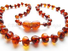 Baltic Amber Baby Teething Necklace Rounded Cognac Color Beads