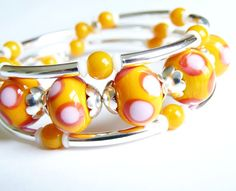Lampworked Glass Memory Wire Bracelet
