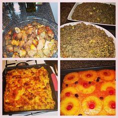 My fav food to cook, macaroni au gratin, duri ak djondjon, griot and pineapple upside down cake!!!