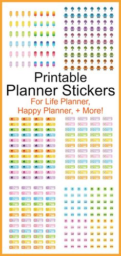 Printable Planner Stickers- Keep your life organized and add some pretty color to your planner with these printable planner stickers! Many of these are designed to act as reminders to remind you about things like bills that are due, doctor's appointments, travel, parties, and more! | pastel, colorful, summer, digital stickers, planner icons, grill, popsicle, ice cream, rent due, Life Planner, Happy Planner, Kikki K, Filofax, JPG, PDF