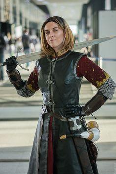 ankhaistenn: I love Boromir so much so I became Boromir (costume. Female Armor, Female Knight, Fantasy Armor, Medieval Fantasy, Medieval Combat, Sword Poses, Armor Clothing, Fantasy Costumes, Action Poses