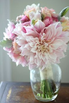 Bridal bouquet of cafe au lait dahlias, dusty miller, pink ranunculus, light pink lisianthus, silver brunia berries, and pale pink and by TinyCarmen