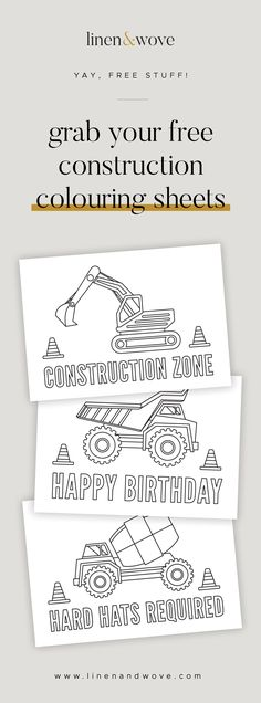 These construction colouring sheets are perfect activity for your digger obsessed little ones - whether at a construction themed party, just for fun at home, or at playgroup! Digger Birthday Parties, Digger Party, Birthday Party Games, Third Birthday, Birthday Ideas, Construction Party Games, Construction Party Decorations, Construction Birthday Parties, Auryn